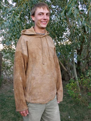 A nicely fitted buckskin hoodie.