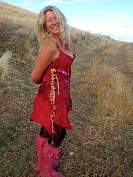 Red buckskin dress, dyed with cochineal .