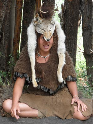 A buckskin, bison, and coyote storytelling outfit.