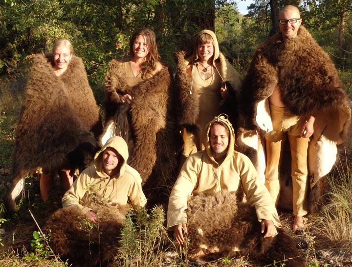 Participants in a buffalo hide tanning class.